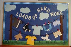 Spring bulletin board idea.  Used March 2013 - I'll hang up some good papers on our clothesline from time to time.