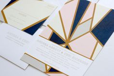 Modern Geometric Industrial Wedding Invitations | via wordshop