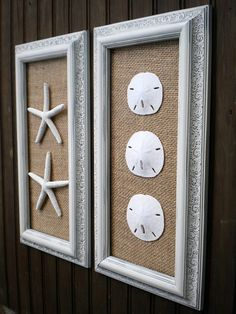Coastal Decor, Cottage Chic Framed Starfish Wall Art, Dorm Wall Art, Beach Wall Art, Sea Shells Home Decor, MODERN VINTAGE LOOK