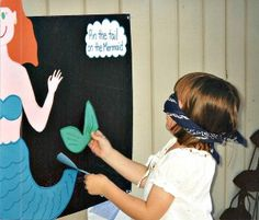 Pin the tail on the mermaid -- a fun party game for an under the sea party .. Could make with FELT so its reusable for parties. :) Maybe do a pin the pan on flynn for Rapunzel.