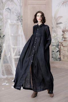 linen dress button down linen dress shirt dress navy blue dress maxi dress long sleeve pintucked dress Linen Shirt Dress, Linen Dresses, Linen Tunic, Dresses Dresses, Dance Dresses, Hijab Fashion, Fashion Dresses, Gothic Fashion, Hijab Stile
