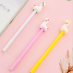 2pcs Cartoon Alpaca Gel Pens 0.38mm Black Ink Signature Pens Cute Stationary New