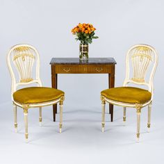 """Set of 4 French Louis XVI Style """"Montgolfiere"""" Chairs, circa 1920s   From a unique collection of antique and modern dining room chairs at https://www.1stdibs.com/furniture/seating/dining-room-chairs/"""