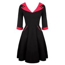 Black and Red Rockabilly Dress with Sleeves