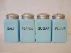 McKee Glass 4 Chalaine Blue Salt Pepper Sugar Flour Shaker Set Square