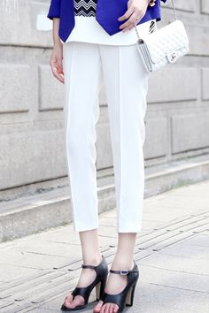 Color Block Oversized White Pants #Romwe