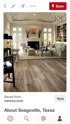 Flooring Ideas for Living Room. Here are elegant, luxurious, beautiful and family friendly flooring for living room floor. Home Living Room, Living Room Decor, Living Room Wood Floor, Living Area, Kitchen Living, Fireplace In Living Room, Bookshelf Living Room, Living Room Ceiling Ideas, Rustic Living Rooms