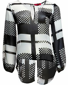 MOD CHECKED BLOUSE WITH SPLIT BACK BLACK
