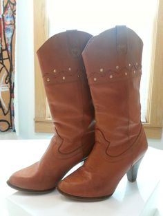 Vtg 80s PREDICTIONS Hipster Cowboy Boots! Burnt Orange Genuine Leather Sz 5.5  #Predictions #Boots