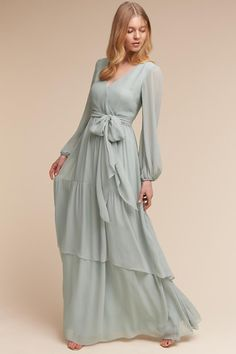 Donna Morgan Morning Mist Quince Dress | BHLDN