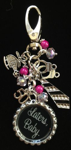This listing is for one Fifty Shades of Grey inspired bag bling.  The image says Laters Baby on a black background and it is embellished with a helicopter charm, a 50, a bling tie and handcuffs. The beads are a very shiny hot pink and clear Swarovski crystal beads.  This can also come with a ...
