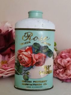 VINTAGE ROSE TALC TALCUM POWDER by '51 BEGONIA' VANITY COLLECTABLE TIN