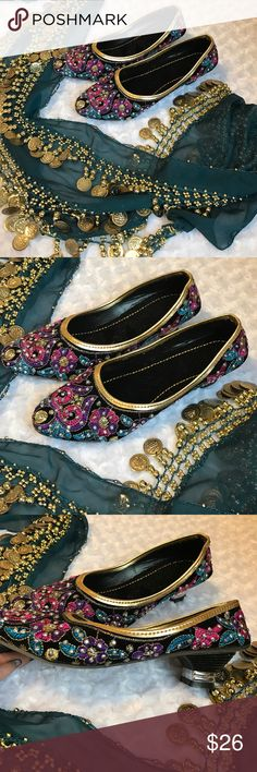 """INDIAN MULTI COLORED JEWELED SHOES Purple to gold and silver. These are very feminine and pretty. Heel is less than 1.5"""".  Dainty and detailed. -No trades. HANDMADE Shoes"""