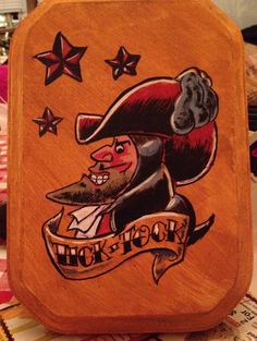 """Captain Hook in a sailor jerry style of tattoo art. The starts representing the """" second star in the right straight on till morning"""""""