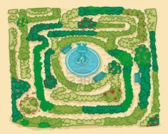 A labyrinth garden, with a fountain in the middle. Stock Photo