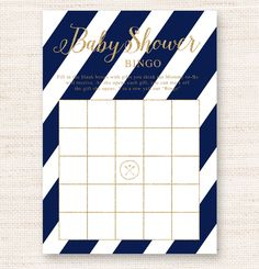 Instant Download Printable 8.5″ x 11″ jpeg with two 5″ x 7″ games lined up. Just print and cut. Have the guests fill in the gifts they think the mommy-to-be will receive. As she opens each gift, the guest can mark off their item. Five in a row wins a prize. Navy Blue Nautical White Gold Glitter Sparkle Baby Shower Bingo Game