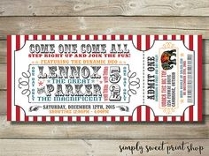 Circus Invite Invitation Carnival by SimplySweetPrintShop on Etsy