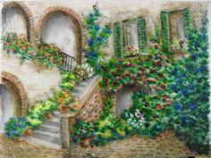 Mediterrán udvar (20x30 cm üvegfestmény) 2015. Mediterranean garden (20x30 cm glass pattern) 2015. I made: Jakobiczné Klári (Borisanyu) borishop.hu