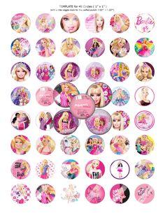 """Barbie 1 inch Digital Bottle Cap Images, 48 Images, 8.5"""" x 11"""" Standard Letter Size Sheet by BestofImages on Etsy"""