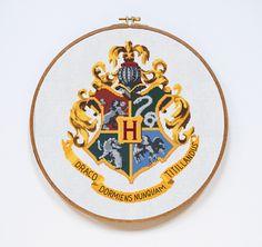Hogwarts Cross Stitch Pattern, Harry Potter Cross Stitch Pattern, Hogwarts Crest Modern Easy Chart, Hogwarts, Pdf Format, Instant Download by Stitchering on Etsy https://www.etsy.com/listing/271498913/hogwarts-cross-stitch-pattern-harry