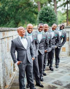 If your smile isn't this big on your wedding day, you're doing it wrong. 😄 Happy has never looked better! We love the teal and gray details in this photo. This groom and his groomsmen look sharp! Photo by Teal And Grey, Gray, Groomsmen Looks, Youre Doing It Wrong, On Your Wedding Day, Your Smile, Big, Happy, Ash