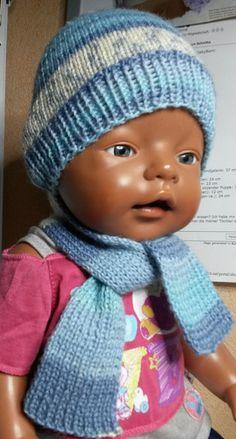 Puppenkleidung - Mütze mit Schal blau - ein Designerstück von by_Masha bei DaWanda