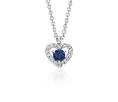 Petite Sapphire and Diamond Pavé Heart Pendant in 14k White Gold (3mm)
