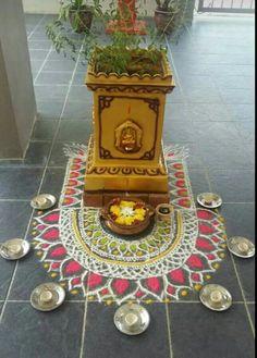 Rangoli Designs Flower, Rangoli Ideas, Rangoli Designs Diwali, Flower Rangoli, Beautiful Rangoli Designs, Diy Diwali Decorations, Festival Decorations, Tulasi Plant, Silver Pooja Items