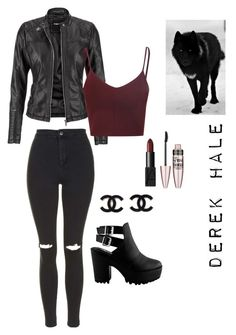 """""""Derek Hale outfit #1"""" by hforish ❤ liked on Polyvore featuring Topshop, maurices, Glamorous, NARS Cosmetics and Maybelline"""