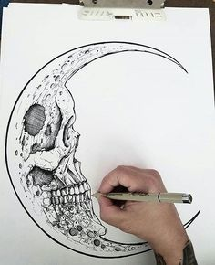 The Fearful Skull on – A R T – Art drawings, Art, Tattoo drawings skull art tattoo - Tattoos And Body Art Tattoo Drawings, Cool Drawings, Body Art Tattoos, Moon Tattoos, Skeleton Drawings, Tattoo Art, Pencil Drawings, Creepy Drawings, Tattoo Sketches