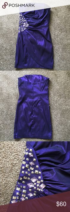 Cachè Dress Beautiful purple/blueish cocktail, birthday or homecoming/prom dress! It has embellishments on the side rib area adding the perfect amount of flair!! Worn once Cache Dresses Mini