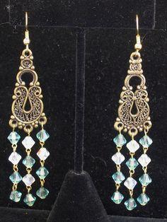 Handmade chandelier earrings made with Swarovski crystals