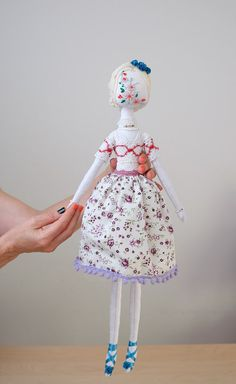 Textile Art Doll Handmade Doll Cloth Art Doll by FlowersAndCocoons