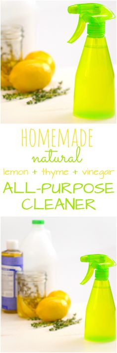 For keeping a green home clean, vinegar is your best friend: it's a powerful disinfectant, it's safe and natural, and you can bring home a huge jug of it for pennies. But when we get done cleaning the house, we want it to smell fresh — not burn our nostrils out. That's why we're infusing vinegar with lemon and thyme to make an all-natural cleaning spray. It has all the scrubbing power of vinegar, but with a lovely, refreshing scent.