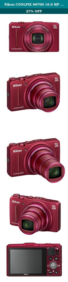 Nikon COOLPIX S9700 16.0 MP Wi-Fi Digital Camera with 30x Zoom NIKKOR Lens, GPS, and Full HD 1080p Video (Red). The Nikon COOLPIX S9700 Digital Camera is designed around a genuine NIKKOR glass lens, the legendary optics that have helped make Nikon famous. The COOLPIX S9700's 30x optical zoom lens goes from wide-angle—great for portraits and landscapes—all the way up to telephoto—great for closeups of sports, concerts, nature and more. When you need even more reach, zoom up to 30x with...