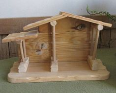 Precious Moments Wood Nativity Stable for Miniature Nativity