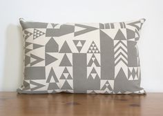 Lumbar Shape Vienna Triangles Pillow Cover in Grey - Modern Geometric Pillow Cover