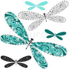 lace dragonfly tattoo | Stock vector of 'Set lace vintage dragonflies'
