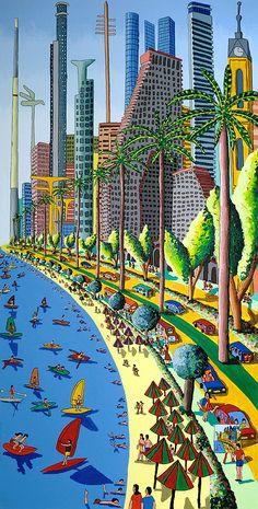 naive art painting of tel aviv city israeli painter raphael perez landscape urban  paintings