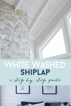 How to white wash shiplap ceilings and walls (and wood furniture) to get a gorgeous, soft, weathered look!  An easy, step by step tutorial that anybody can follow! Shiplap Ceiling, Plank Ceiling, Plank Walls, Wood Ceilings, Ceiling Decor, Painted Wood Ceiling, Ceiling Ideas, Ceiling Design, White Wash Ceiling