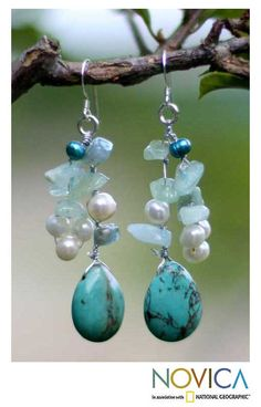 Adorn any look with the lovely allure of handmade jewelry from Thailand. These Azure Allure earrings features freshwater pearls and amazonite on sterling silver hooks.