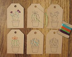 Diy Embroidery Cards, Cactus Embroidery, Hand Embroidery Projects, Paper Embroidery, Hand Embroidery Patterns, Diy Notebook Cover, Diy Broderie, Rainy Day Crafts, Doily Patterns