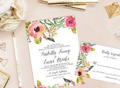 Isabella Printable Wedding Invitation DIY von cokkodesigns auf Etsy