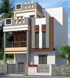 To see more visit 👇 House Front Design, Roof Design, Cool House Designs, Modern House Design, Exterior Design, Front Elevation Designs, House Elevation, House Construction Plan, Model House Plan