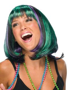 Ladies Mardi Gras Wig $12.43 shoulder length wig with bangs. purple and green. Mardi Gras Wigs. http://www.halloweencostumes4u.com/prods/rub51955.html