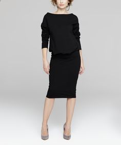 Look what I found on #zulily! Peperuna Black Blouson Dress by Peperuna #zulilyfinds