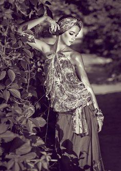 bohemian style - long skirt - head wrap - halter