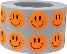 1000 Flourescent Orange Smiley Happy Face by TheDotSpotLane. Perfect for crafting or teacher rewards.