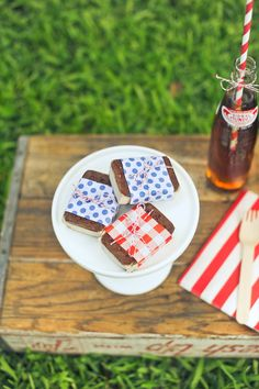 paper wrapped mini ice cream sandwiches {stevie pattyn for shop sweet lulu}