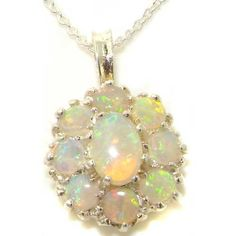 Ladies Solid 925 Sterling Silver Natural Fiery Opal Large Cluster Pendant Necklace.More info for small simple necklaces;black necklaces for women;real silver necklaces for womens;cute long necklaces;beautiful necklaces for her could be found at the image url.(This is an Amazon affiliate link and I receive a commission for the sales)